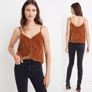 Madewell NWT Velvet Button-Down Cami Rust Orange